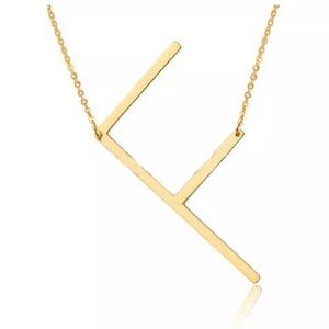 Jewelry - F Block Letter Monogram Stainless Steel Necklace